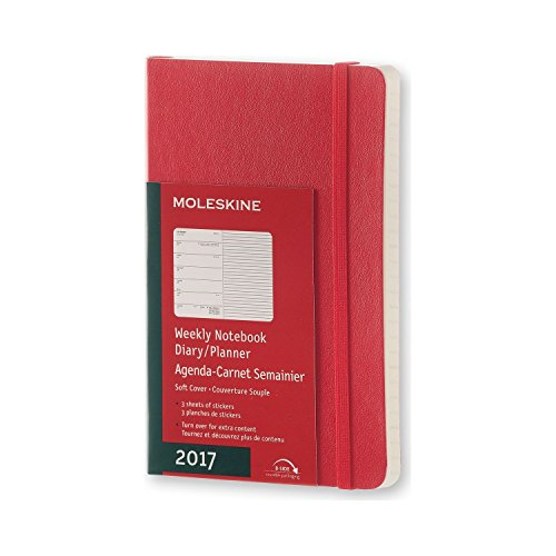 2017 Moleskine Scarlet Red Pocket Weekly Notebook Diary 12 Months Soft por Moleskine