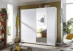 Rauch Kleiderschrank/Schwebetürenschrank Santiago 2-türig. Weiß Alpin mit Spiegel, 2 Einlegeböden, 2 Kleiderstangen, BxHxT 218x210x59 cm