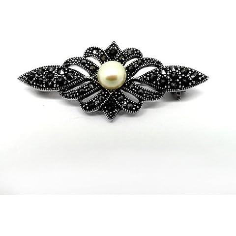 GOLDMAJOR - Spilla in argento Sterling e Marcasite decorata con perla d'acqua dolce al centro