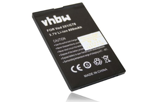 vhbw Li-Ion Akku 800mAh (3.7V) für Handy, Smartphone, Telefon ZTE C88, C78, C70, E520, Essenze, Agent, F160, Orange Dallas wie Li3708T42P3h553447.