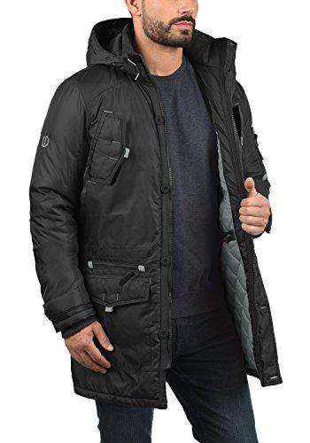 SOLID Betto Herren Parka Winterjacke mit Kapuze und abnehmbarem Fellkragen aus hochwertiger Materialqualität Black (9000)