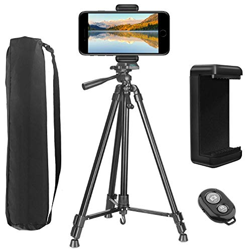 PEYOU Handy Stativ, 60 Zoll Leichtes Aluminium Smartphone Stativ mit Handy Halterung und Bluetooth Fernbedienung Kamera Stativ 154cm Kompatibel mit iPhone Samsung und Kamera