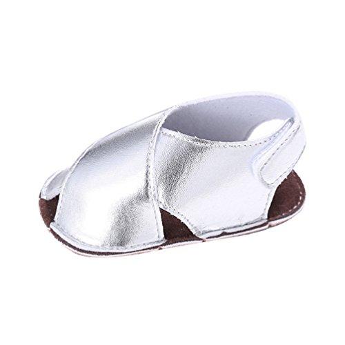 CHENGYANG Chaussures Premiers Pas de Bébé Garçon Fille Doux Semelle Anti-dérapante Sandales Argent
