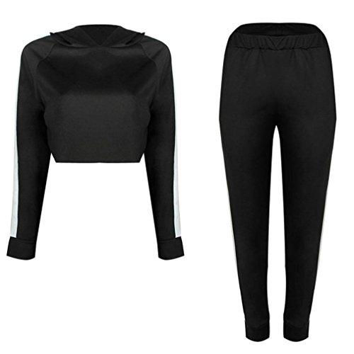 Suit, GreatestPAK un ensemble de Survêtement Sweat Sport Hoodies Sweatshirt Crop Tops Pantalons Noir