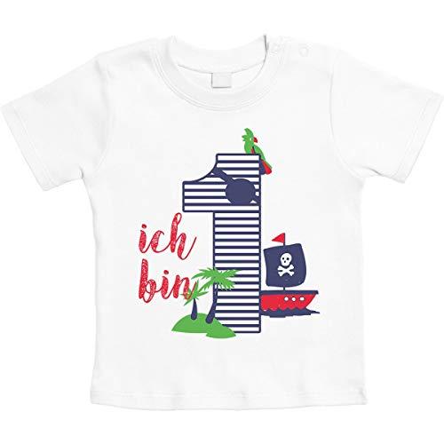 urtstag Piraten Geschenk Unisex Baby T-Shirt Gr. 66-93 6-12 Monate / 76 Weiß ()