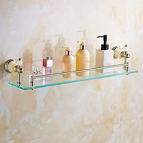 Mlzaq Komplette Kupfer Badezimmer Glasregal, Badezimmerspiegel Front, 1-Schicht-Jade-Stein-Kosmetik-Rack Badezimmer-Regal Glas (Size : Jade Copperd)