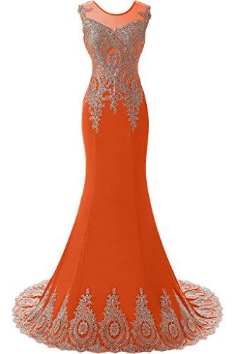 Sunvary Robe Longue Robe de Soiree Robe de Ceremonie en Sirene Dentelle Florale Col Rond Broderie Mandarine