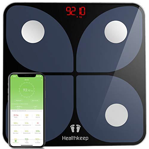 Pèse Personne Impédancemètre, Balance Connecté, Pèse-Personne Bluetooth, Électronique Balance Impédancemètre avec 13 Données Corporelles, Analyseur de Composition Corporelle pour APP Smartphone 180kg