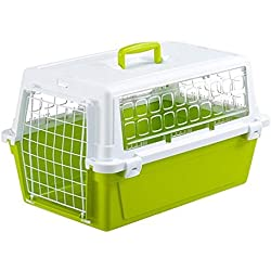 Ferplast Carrier para gatos y perros, color blanco/verde