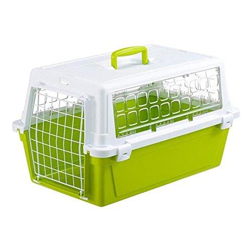 Ferplast Carrier para gatos y perros, color blanco/verde