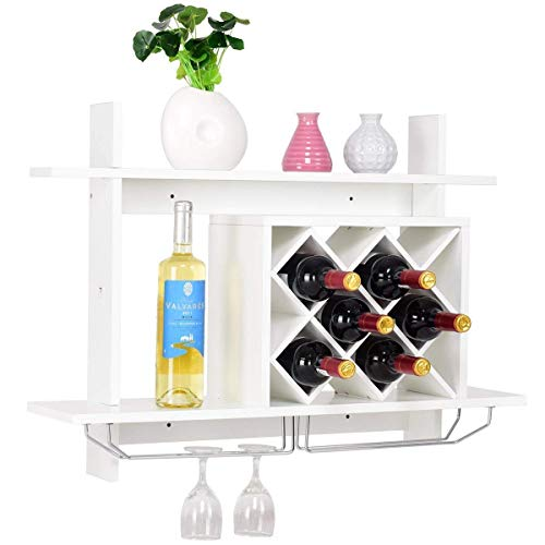 JHUEN Weinregal zur Wandmontage mit Glashalter, Organizer W/Metallglashalter & Multifunktionsregal Modern Diamond-Shaped Wood Wine Server für 6 Flaschen Wein Lagerung Display Rack (weiß) -