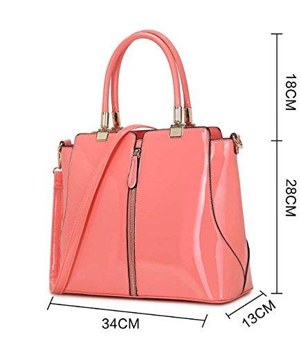 LeahWard® Essener Mode Damen Mittlere Größe Patent / Ebene Tasche Damen Tote Reißverschluss Detail Handtaschen Qualität Kunstleder Taschen CWKP9298 CWKP9298-Rosa