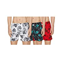Longies Men's Printed Boxers (Pack of 3) (LGBOXPO3169_Multicoloured_Medium)
