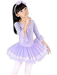 Geschenk-Idee! Lotusleaf Sleeved Ballett-Ballettröckchen -Kleid, Mädchen Größe 4-8 , Preis / Stück - lila