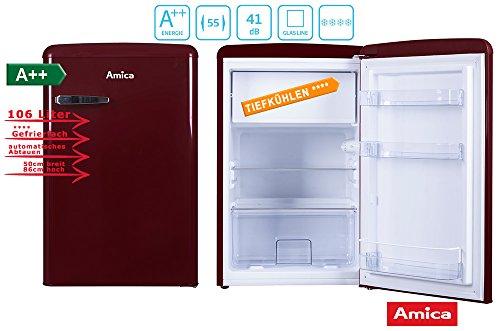 Amica Retro Kühlschrank Weinrot KS 15611 R A++ 106 Liter mit Gefrierfach Standgerät Wine Red<