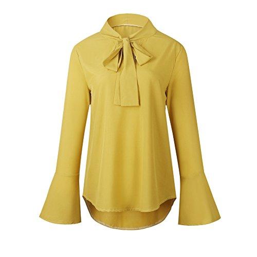 Women Lace-Trim Top T-Shirt Top Yellow Long Sleeve