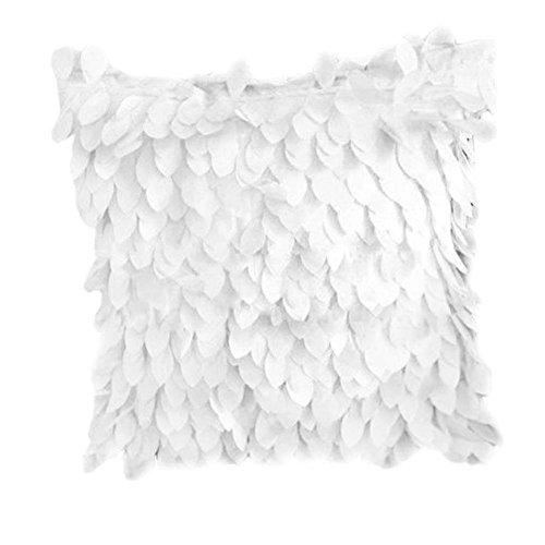 Tangbasi® 3D Blätter Überwurf Kissen Fall Kissen Hochzeit Home Dekoration, Polyester, weiß, Einheitsgröße