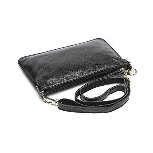 Für Frauen Leder Einfache Solide Farbe Handtaschen Litschimuster Umschlag-Kupplung Black