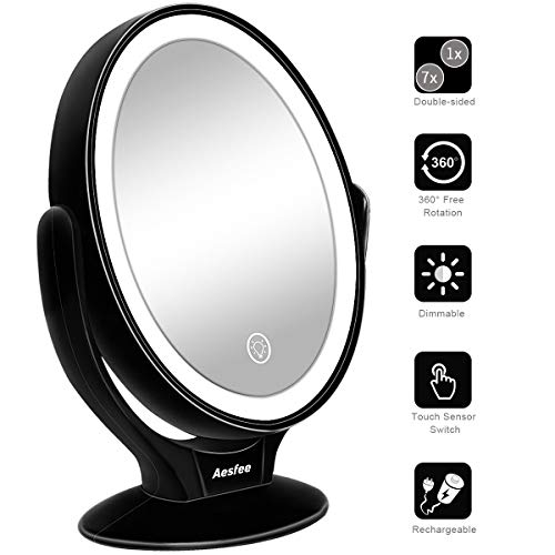 Espejo de Maquillaje de Doble Cara con Luces LED