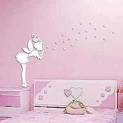 Vinilo hadas y estrellas de pared de espejo plata niñas, dormitorio..