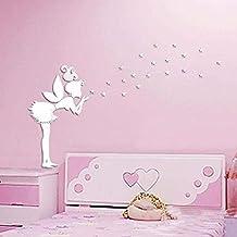 vinilo hadas y estrellas de pared de espejo plata nias dormitorio