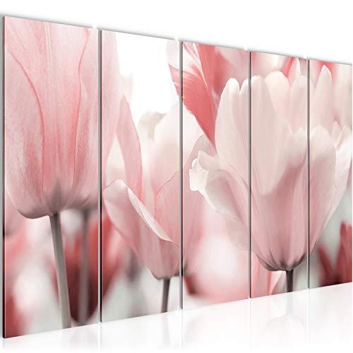Bilder Blumen Tulpen Wandbild 150 x 60 cm Vlies - Leinwand Bild XXL Format Wandbilder Wohnzimmer Wohnung Deko Kunstdrucke Pink 5 Teilig - MADE IN GERMANY - Fertig zum Aufhängen 203956a
