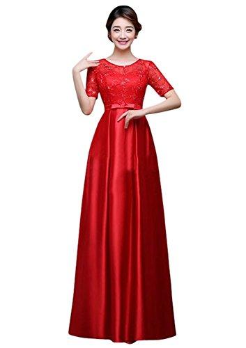 Drasawee Damen Empire Kleid Rot