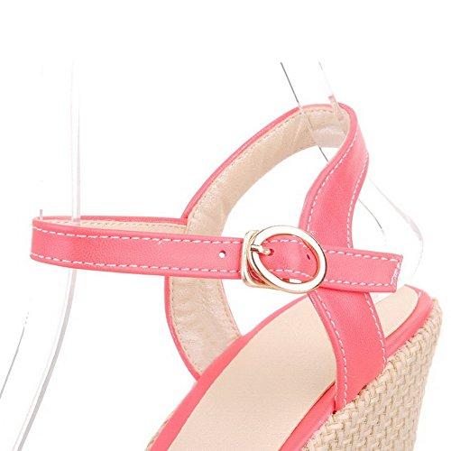 VogueZone009 Damen Schnalle Hoher Absatz Pu Leder Gemischte Farbe Fischkopf Schuhe Plateau-Sandalen Rot