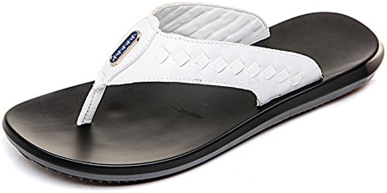 Juans shoes  Herren Sandalen  Männer Casual Thong Flip Flops Strand Hausschuhe aus Echtem Leder Rutschfeste Weiche