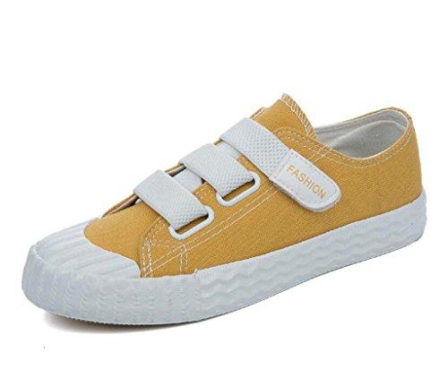 SHFANG Dame Schuhe Amoi Niedrige Hilfe flache Unterseite Segeltuchschuhe Bequeme Freizeit-Bewegung Vier Farben Kursteilnehmer täglich Yellow