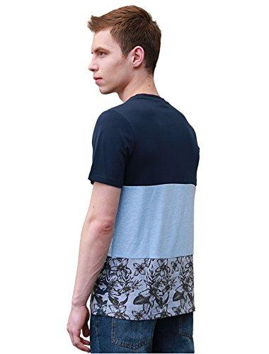 Allegra K Herren Blumenmuster Einsatz Farbblock T-Shirt mit Rundhalsausschnitt Blau