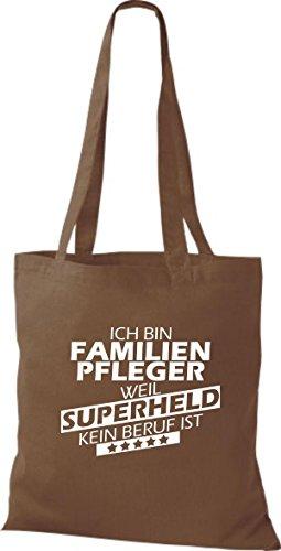 Shirtstown Stoffbeutel Ich bin Familien Pfleger, weil Superheld kein Beruf ist hellbraun