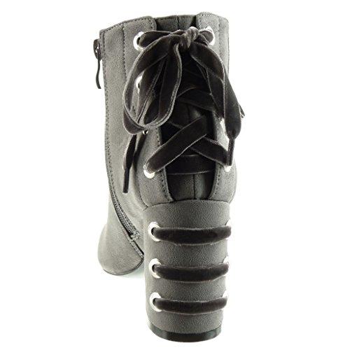 Angkorly Scarpe da Moda Stivaletti - Scarponcini Cavalier Donna Merletto Tacco a Blocco Tacco Alto 8.5 cm Grigio