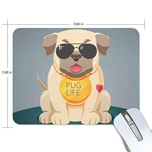 Cool Pug with Sungalsses Print Non-Slip Rubber Mousepad Gaming Mouse Pad Fast and Accurate Control for Gaming and Office