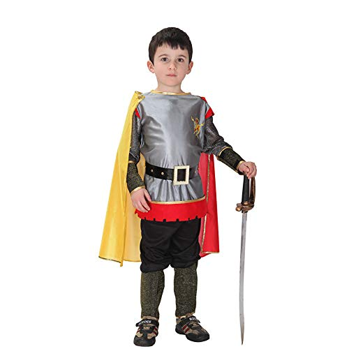 SMILINGGIRL Boy Halloween Kostüm, Kinder Cosplay Anime Prince Kostüm + Prince Spielzeug Messer,Silver,S