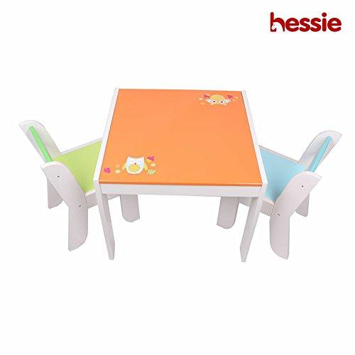 ind Kinder Aktivität Spiel Tisch Stuhl Set, Holz Spielzimmer / Schlafzimmer Vorschule Möbel - Orange Eule (Kunst-tisch Für Kleinkinder)