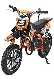 Actionbikes Motors Kinder Mini Crossbike Gepard 49 cc 2-takt inklusive Tuning Kupplung 15mm Vergaser Easy Pull Start verstärkte Gabel Dirt Bike Dirtbike Pocket Cross (Orange) (2-takt-zündung)