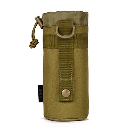 SUNVP Tactical Military Water Bottle Holder Pouch Waterproof Molle Kettle Bag Pouch Carrier for Camping Hiking Running 550ml Brown