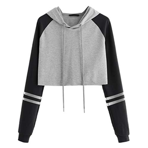 KUDICO Pulli Damen Hoodie Gestreift Patchwork Pullover mit Kapuzen Spleißen Farbe Langarm Sweatshirt Cropped Oberteile Kapuzenpullover (Schwarz1, EU-42/CN-2XL) -