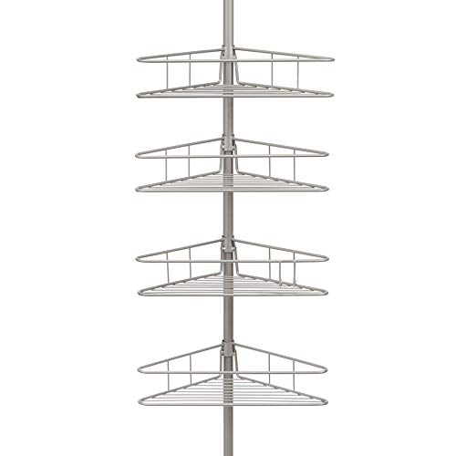 Tension Pole Caddy (Kenney vierflammig Dreieck Korb Tension Pole Dusche Caddy, Satin Nickel)