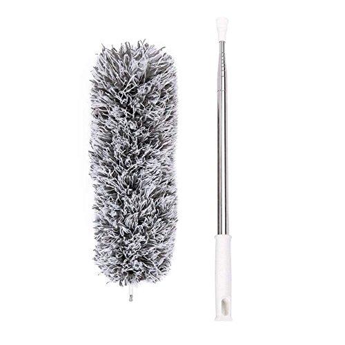 Plumero de microfibra con poste de acero inoxidable extensible 110 pulgadas y cabezal plegable lavable...
