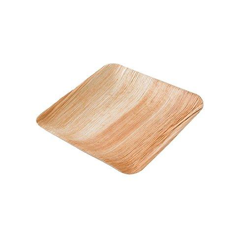 Hochwertiges Palmblattgeschirr von kaufdichgrün | 25 Stück Palmblatt Teller rechteckig 20 x 20 cm | Bio Einweggeschirr biologisch abbaubar Partygeschirr Einmalgeschirr Wegwerfgeschirr