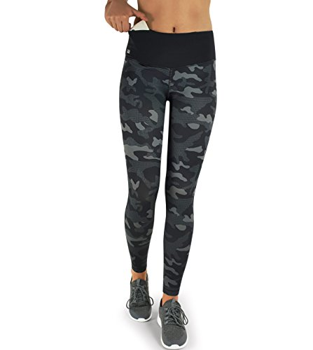 Formbelt® Damen Laufhose mit Tasche lang - Leggins Stretch-Hose hüfttasche für Smartphone iPhone Handy Schlüssel (Camouflage Dark XL)