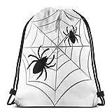 """Reputation shop Spider Web 3D Print Drawstring Backpack Rucksack Shoulder Bags Gym Bag for Adult 16.9""""X14""""..."""