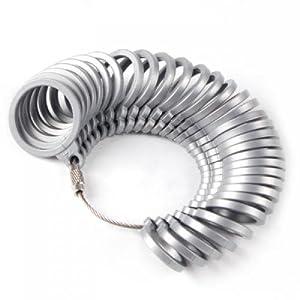 Ringmaß, Kunststoff, zum Messen der Ringgröße der Finger, Skalierung, Größe europäischer Standard, Grau