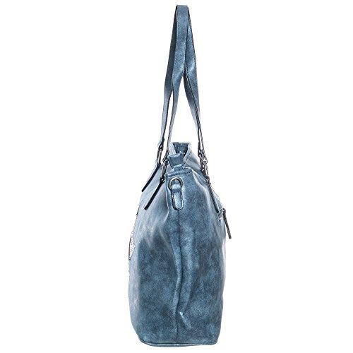 5963dea402c43 Damen Handtasche Shopper schultertasche umhängetasche streifen Stern  Glitzer Cut out Vintage look metallic jeansblau TPUG0263