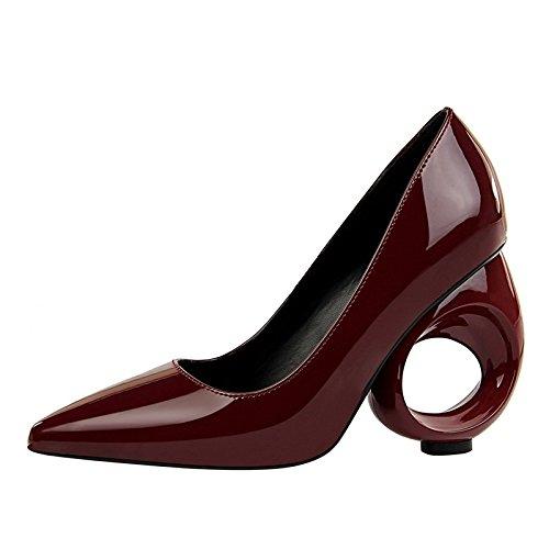 DIMAOL Scarpe da Donna in Similpelle di Caduta di Primavera Comfort Tacchi Tacco Alto per Party & Vino della Sera Rosa Rosso Bianco Nero Il vino