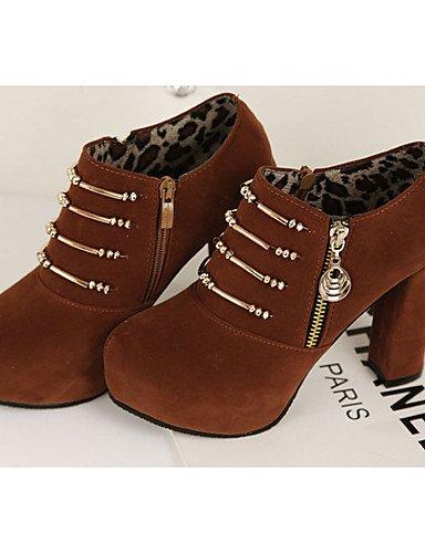 WSS 2016 Chaussures Femme-Décontracté-Noir / Marron-Gros Talon-Talons-Chaussures à Talons-Laine synthétique brown-us6.5-7 / eu37 / uk4.5-5 / cn37
