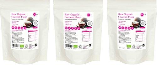 Raw Organic Coconut Flour 3kg (1kg x 3) Fine Gluten Free Ground Baking Flour Low Carb High Fibre Bread Making Unsweetened Vegetarian Vegan Non GM PINK SUN Bulk Buy