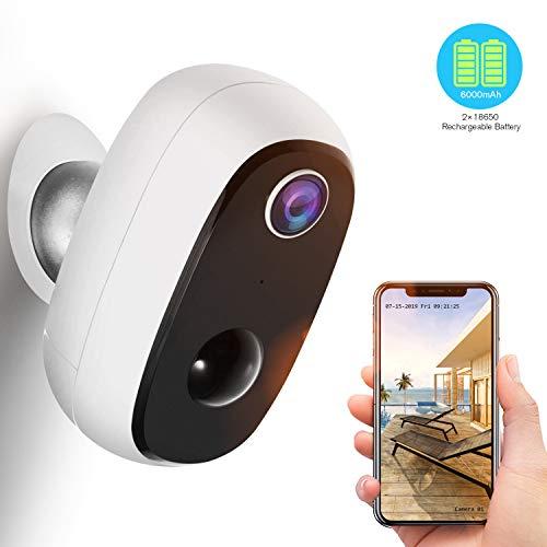 Akku Überwachungskamera, 1080P Kabellos Outdoor WLAN-Kamera mit PIR-Bewegungserkennung, 2-Wege-Audio, Nachtsicht, integrierter SD-Steckplatz, IP65 wasserdichte